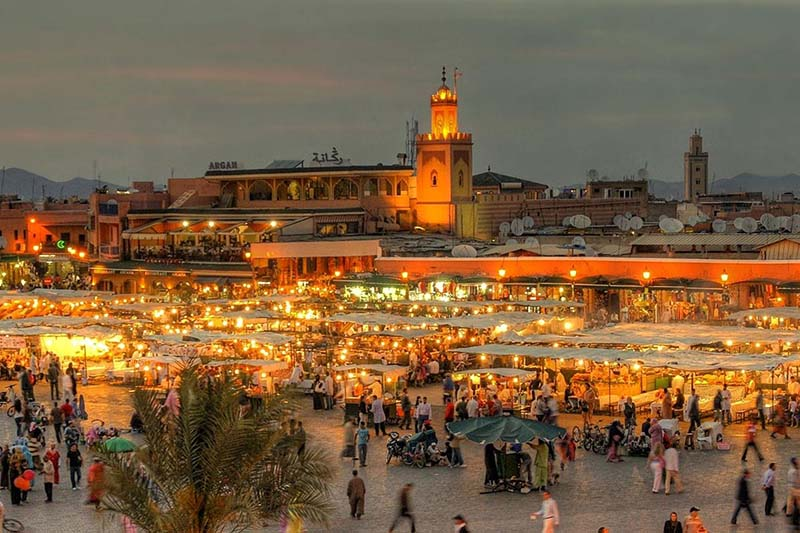 Marrakech city in the evening