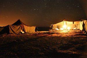 desert camp by night